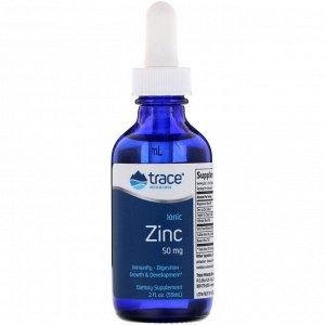Trace Minerals Research, Ионизированный цинк, 50 мг, 59 мл (2 жидк. унции)