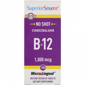 Superior Source, Cyanocobalamin B12, 1,000 mcg, 100 Tablets