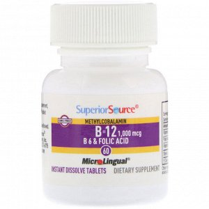 Superior Source, Метилкобаламин B-12, 1000 мкг, B-6 и фолиевая кислота, 800 мкг, 60 быстрорастворимых таблеток MicroLingual