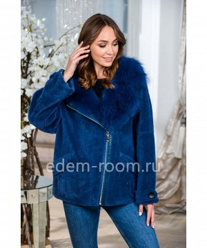 Синяя куртка из натуральной шерстиАртикул: 028-65-SN-P