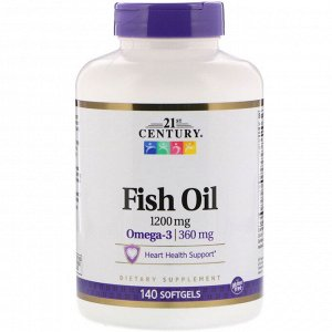 21st Century, Fish Oil, 1,200 mg, 140 Softgels