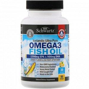BioSchwartz, Omega 3 Fish Oil, Lemon Flavor, 1200 mg EPA & 900 mg DHA, 90 Softgels
