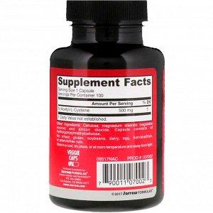 Jarrow Formulas, N-A-C, N-ацетил-L-цистеин, 500 мг, 100 вегетерианских капсул