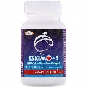Enzymatic Therapy, Эскимо-3, сверхчистые омега-3 кислоты, 105 мягких капсул