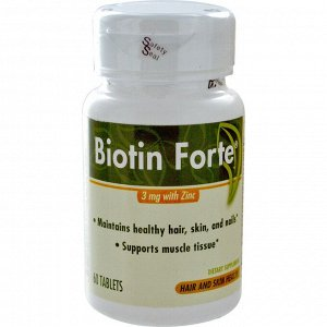 Enzymatic Therapy, Biotin Forte with Zinc, 3 mg, 60 Tablets