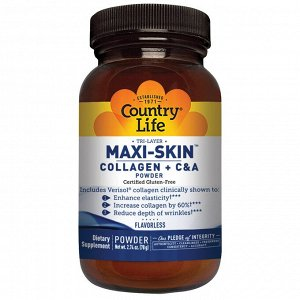 Country Life, Tri-Layer Maxi-Skin Collagen + C & A Powder, Flavorless, 2.74 oz (78 g)