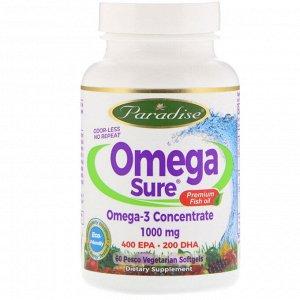 Paradise Herbs, Omega Sure, концентрат омега-3, 1000 мг, 60 вегетарианских капсул (из рыбного желатина)