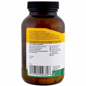 Country Life, Хелатный глицинат магния, 400 мг, 90 таблеток