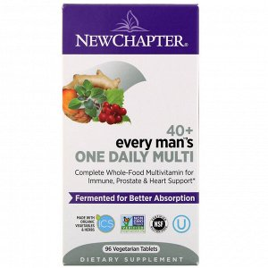 New Chapter, Every Man Ежедневная мультивитаминная добавка для мужчин 40+, 96вегетарианских таблеток