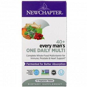 New Chapter, 40+ Every Man's One Daily Multi, мультивитамины для мужчин, 72растительные таблетки