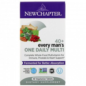 New Chapter, 40+ Every Man&#x27 - s One Daily Multi, 48 вегетарианских таблеток