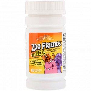 21st Century, Zoo Friends с дополнительным витамином C, 60 жевательных таблеток