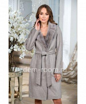 Шерстяное пальто с мехом норкиАртикул: TG-2315-100-SR-N