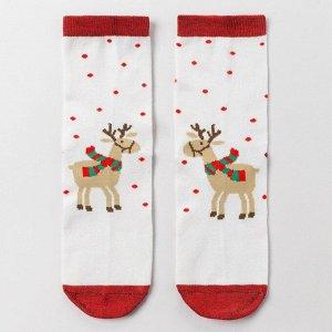 Носки женские «Новогодний олень», цвет белый, размер 23-25