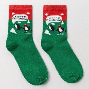 Носки женские «Пингвин», цвет зелёный, размер 23-26