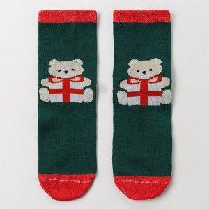 Носки женские «Новогодний мишка», цвет зелёный, размер 23-25