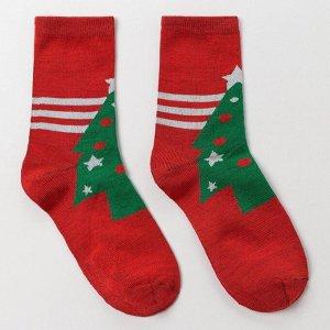 Носки женские «Ёлка в звездах», цвет красный, размер 23-25