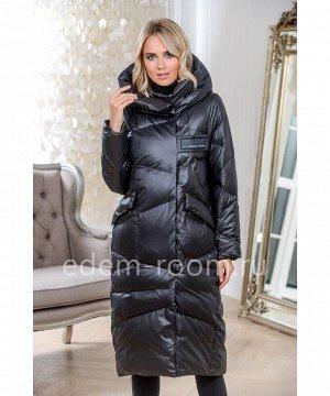 Чёрное пуховое пальто с капюшономАртикул: 9112-2-115-CH