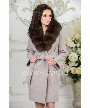 Зимнее пальто с мехом песцаАртикул: AR-142-90-BG-P
