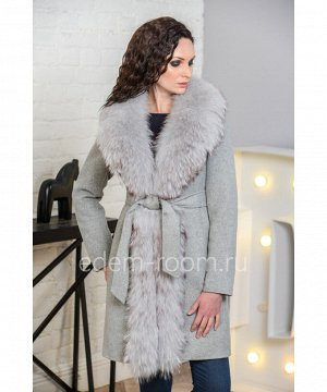 Зимнее пальто с мехом енотаАртикул: V-18222-90-SR-EN