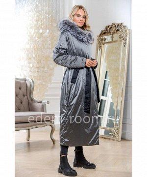 Удлинённое пуховое пальто серого цветаАртикул: 104-2-130-SR-CH