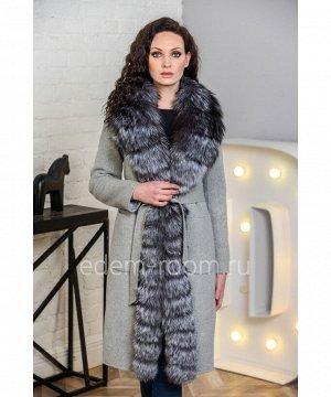 Шерстяное пальто с мехом чернобурой лисыАртикул: V-18271-100-SR-CH