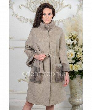 Шерстяное пальто с мехом для женщинАртикул: A-18333-110-BG-N