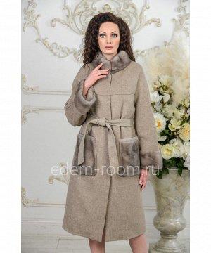 Утепленное пальто с норкой Артикул: A-18333-110-KP-N