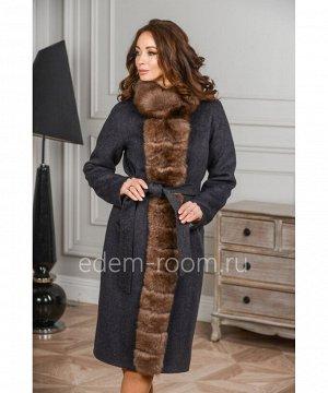 Пальто с меховой планкойАртикул: G-2308-105-GR-P