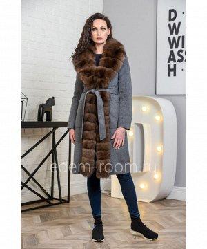 Шерстяное зимнее пальто с мехомАртикул: V-18271-100-GR-P