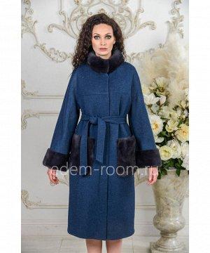 Пальто с норкой утепленноеАртикул: A-18333-110-SN-N