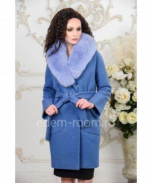 Голубое пальто с мехомАртикул: AR-120-95-GB-P