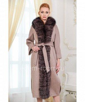 Удлинённое пальто с мехом чернобуркиАртикул: TG-2301-120-KP-CH
