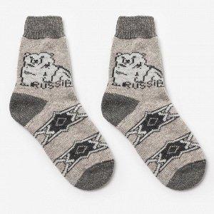 Носки мужские шерстяные «Белый медведь», цвет лён, размер 25