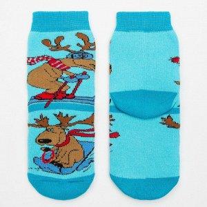 Носки детские махровые, цвет светло-бирюзовый, размер 16-18