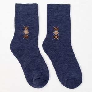 Носки мужские махровые шерстяные, цвет джинс, размер 27