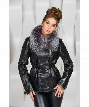 Осенне - весенняя чёрная кожаная курткаАртикул: OL-2090-CH