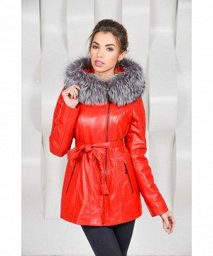 Красная утеплённая кожаная курткаАртикул: OL-K7125-R