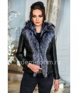 Короткая кожаная куртка с мехомАртикул: G-1810-60-CH-CH