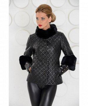 Женская кожаная куртка с мехом. Артикул: TG-2032-CH