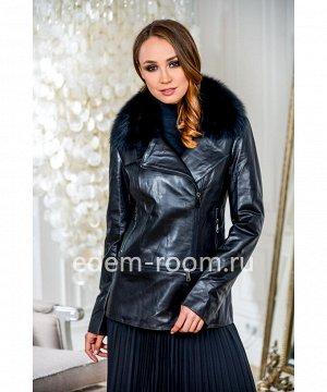 Осенняя кожаная куртка с меховым воротникомАртикул: S-7916-70-P