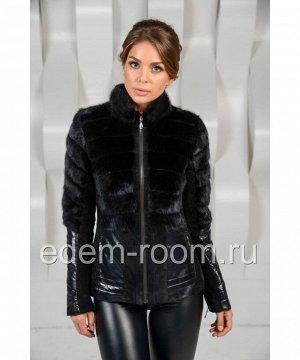 Кожаная куртка комбинированная мехом норкиАртикул: SE-K31