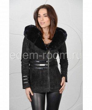 Куртка из замши с меховым капюшономАртикул: S-K90