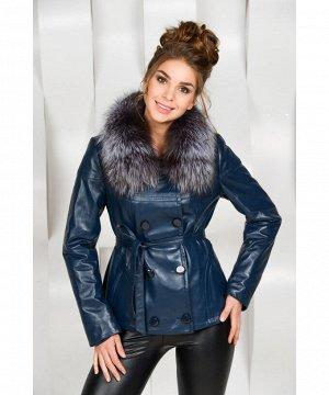 Синяя кожаная куртка с мехомАртикул: OL-2090-S