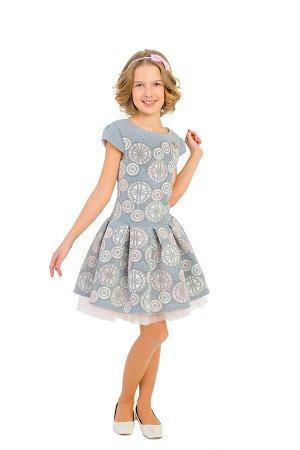 Платье Артикул: СС-П-1820; Цвет: Серый Скачать таблицу размеров                                                 Нарядное платье , корсетного плана, с удлиненным лифом выполнено из фактурного мягкого