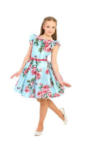 Платье Количество в упаковке: 1; Артикул: СС-ПЛ-1812; Цвет: ГолубойСкачать таблицу размеров                                                Нарядное платье из набивного атласа на подкладке из хлопковой