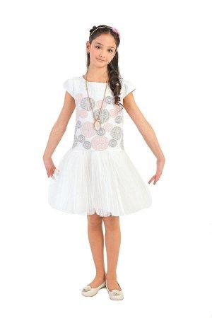 Платье Артикул: СС-П-1818; Цвет: Белый Скачать таблицу размеров                                                 Нарядное платье , корсетного плана, с удлиненным лифом выполнено из фактурного мягкого