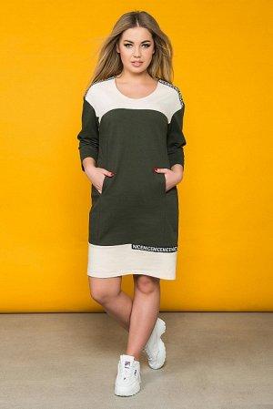 Платье Артикул: ШАР-ПЛ-0190; Цвет: Зелёный; Ткань: Футер; Состав: 72% Хлопок, 20% П/Э, 8% Лайкра; Цвет: Хаки Скачать таблицу размеров                                                 Платье в спортивн
