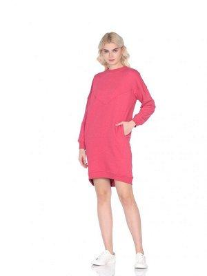 Платье Артикул: ZT-ПЛ-С-6552; Ткань: Футер; Состав: 100% Хлопок; Цвет: Коралловый Платье-толстовка изготавливается из футерованного полотна.Платье-толстовка большого объема, прямого силуэ