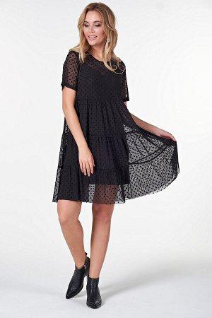 Платье Элис №3  .Цвет:черный/горох